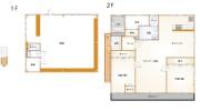 1階は、美容院として利用中。2階は、2LDKのゆとりある住居になっています。